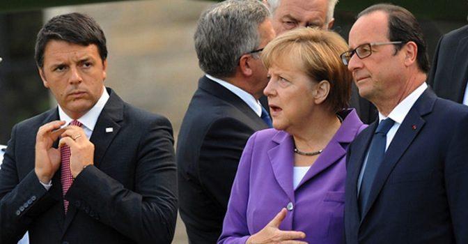 I tre leader, Matteo Renzi, Merkel e Hollande a Napoli: allerta Capodichino