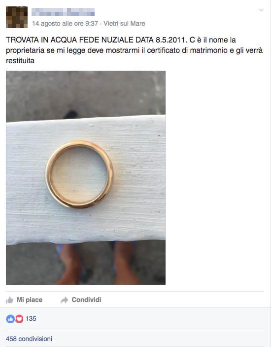Costiera Amalfitana: ritrovata fede nuziale grazie a Facebook