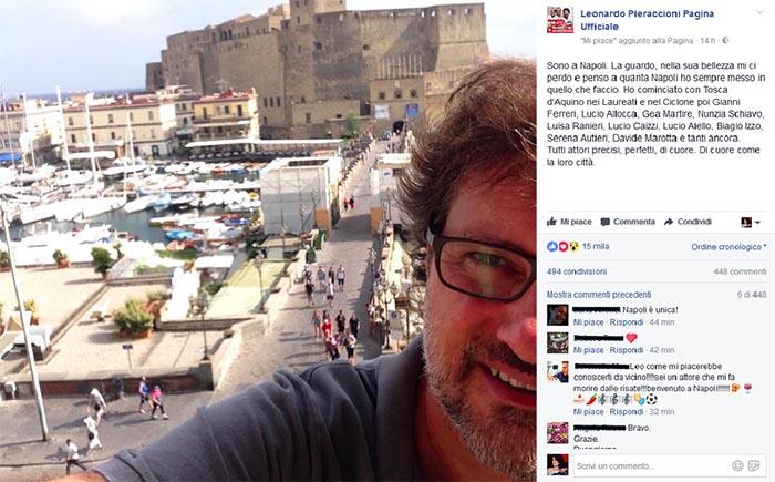 """Leonardo Pieraccioni a Napoli: """"Mi ci perdo nella sua bellezza"""""""