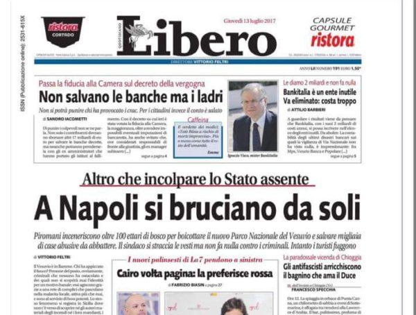 """Libero dal titolo vergognoso: """"A Napoli si bruciano da soli"""""""