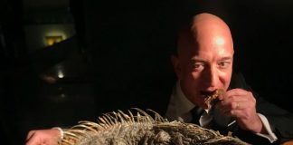 Il papà di Amazon azzanna un iguana: la foto diventa virale