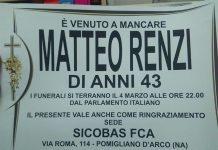 """Pomigliano d'Arco, il manifesto choc: """"È venuto a mancare Matteo Renzi"""""""