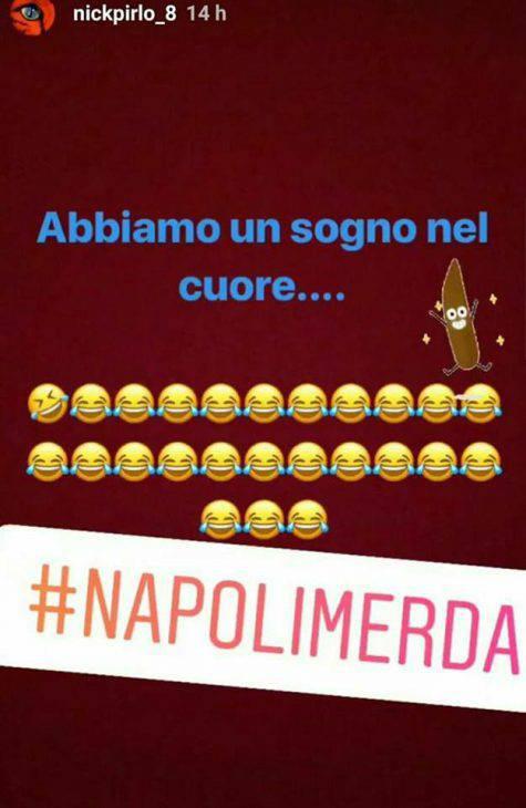 """Il figlio di Pirlo, Niccolò, insulta in Napoli su Instgram: """"#Napoli*****"""""""