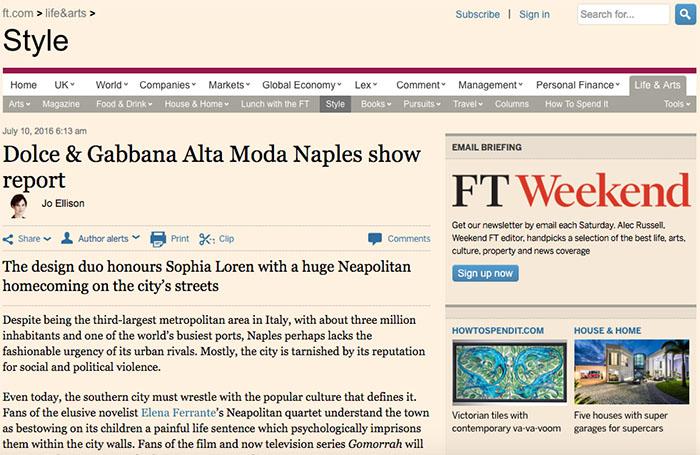 Dolce e Gabbana a Napoli ne parla anche il Financial Times
