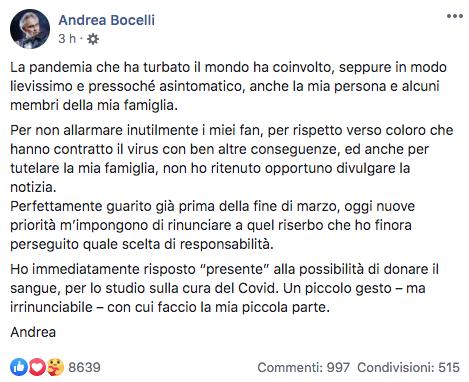 Andrea Bocelli guarito dal Coronavirus dona il plasma