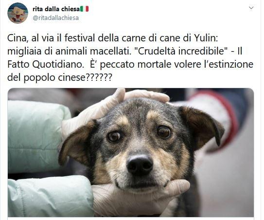 """Rita Dalla Chiesa: """"È peccato mortale volere l'estinzione dei cinesi?"""""""