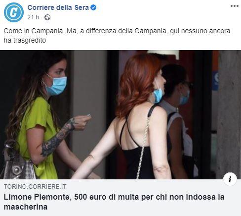 Corriere della Sera: titolazione sulla Campania che fanno discutere