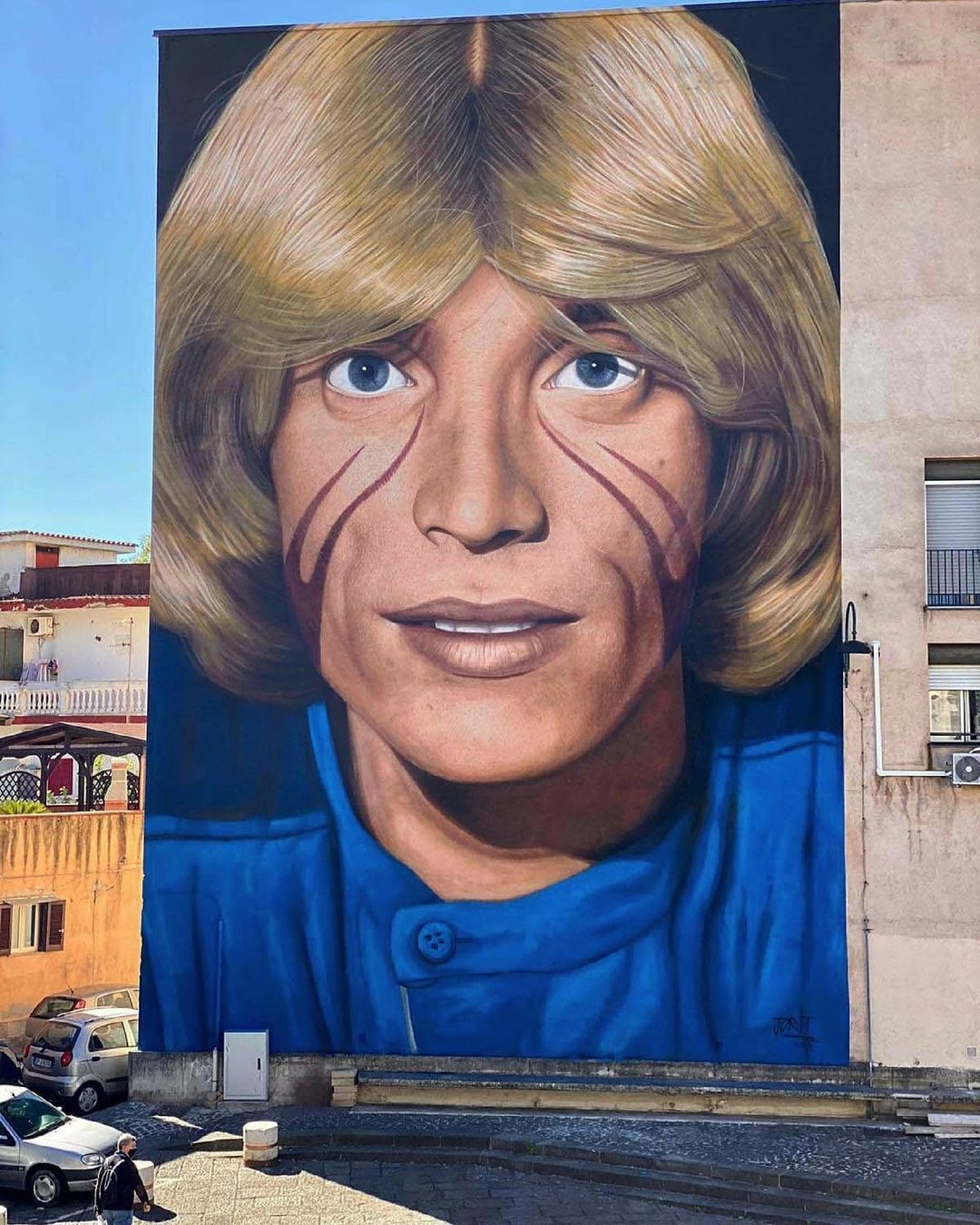Murales di Jorit per Nino D'Angelo a San Pietro a Patierno